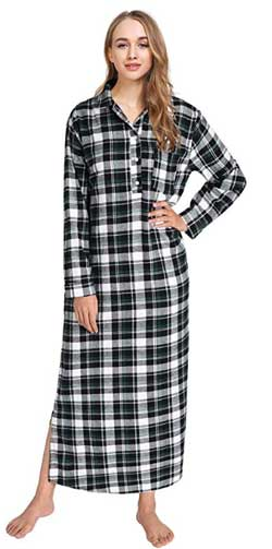 Latuza Women's Plaid Flannel Full Length Sleepshirts