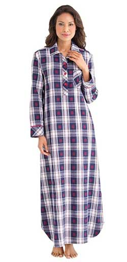 PajamaGram Women's Plaid Cotton Flannel Nightgown
