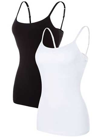 spaghetti strap tank tops with built in bra