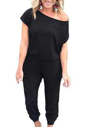 Alelly Women's Off Shoulder Elastic Waist Beam Foot Jumpsuit