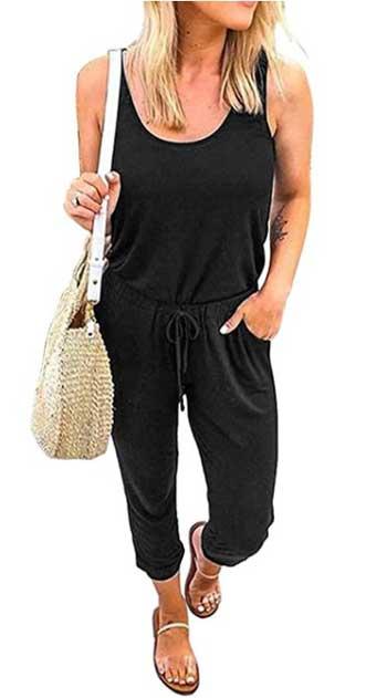 REORIA Women Sleeveless Tank Top Elastic Waist Loose Jumpsuit