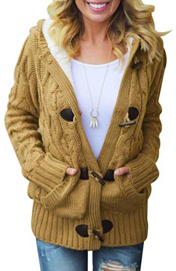 Sidefeel Women Hooded Knit Cardigans