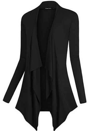 Urban CoCo Women's Drape Front Open Cardigan