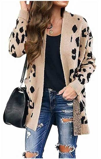 Zesica Women's Long Sleeves Leopard Print Sweater