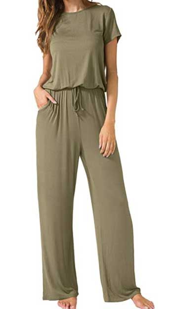 LAINAB Women's Short Sleeve Loose Wide Legs Casual Jumpsuits