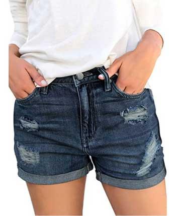 Luvamia Women's Ripped Denim Jean Shorts For Big Thighs