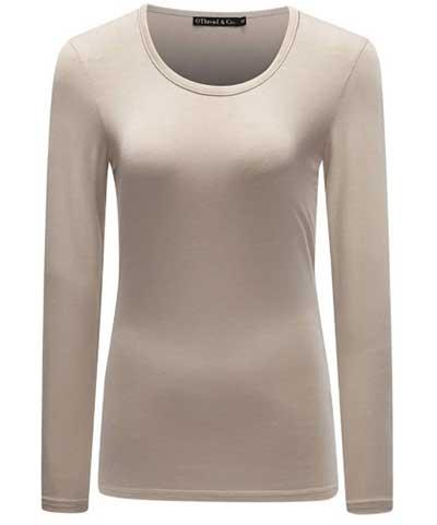 Long Sleeve T-shirt Scoop Neck Basic Layer Spandex Shirts